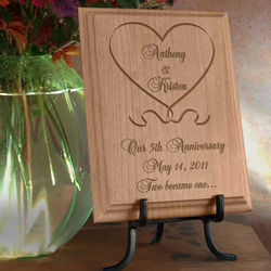 Personalized One Love, One Heart Wooden Plaque