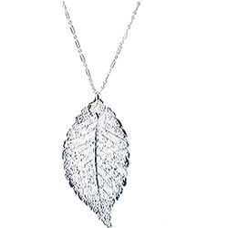 Women's Silver Rose Leaf Necklace
