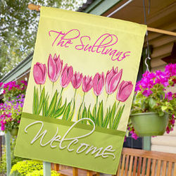 Personalized Spring Tulips House Flag