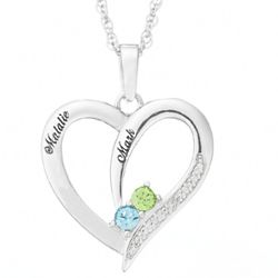 Sterling Silver Two Birthstone and Name Heart Necklace
