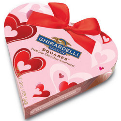 Chocolate Squares Pink Heart Box