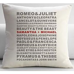 Personalized Famous Couples Throw Pillow and Insert