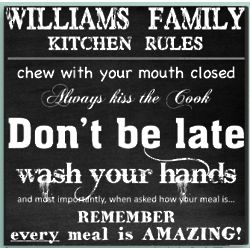 Personalized Kitchen Rules Canvas Art