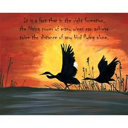 Birds at Sunset III Personalized Art Print