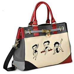 Betty Boop Faux Leather Satchel Handbag with Removable Strap