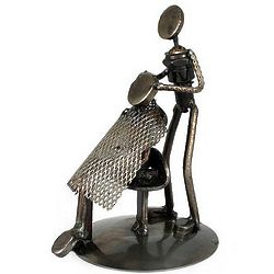 Recycled Auto Parts Haircut Barber Statuette