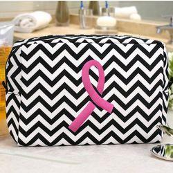 Pink Ribbon Chevron Cosmetic Bag