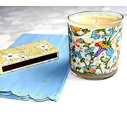 Candle in Floral Glass Container Set
