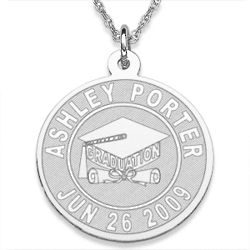 Graduation Sterling Silver Engraved Pendant