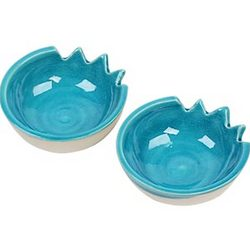 Blue Ceramic Tealight Candle Holder/Serving Dish Set