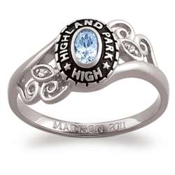 Ladies Sterling Silver Birthstone and Diamond Class Ring