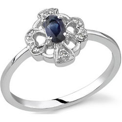 Heart and Cross Sapphire Diamond Ring