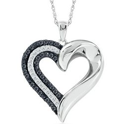 Sterling Silver Black and White Diamond Heart-Shaped Pendant