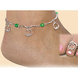 Claddagh Toe Ring and Ankle Bracelet Set