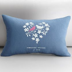 Personalized Love Birds Throw Pillow Cover