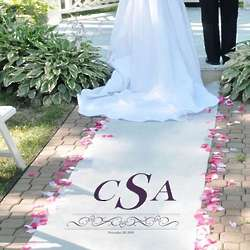 Vintage Scroll Personalized Wedding Aisle Runner