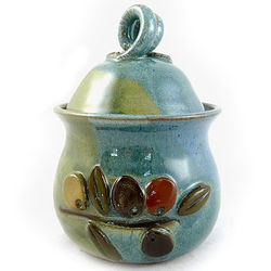 Olive Branch Stoneware Garlic Keeper