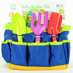 Kid's Garden Tools & Water Can in a Blue Canvas Garden Tote