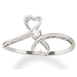 White Gold Dual Heart Diamond Promise Ring