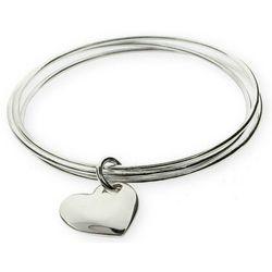 Solid Heart Triple Bangle Bracelet