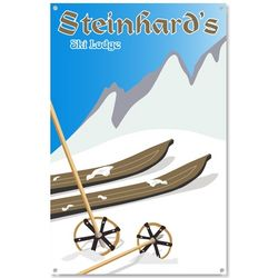 Personalized Alpine Ski Lodge Metal Sign