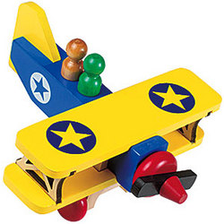 Classic Wooden Toy Biplane