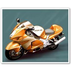 Orange Rocket Motorcycle Personalized Art Print