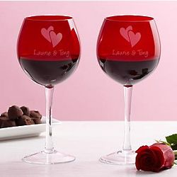 Personalized Valentine Balloon Wine Glasses