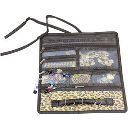 Leopard Print Travel Jewelry Roll
