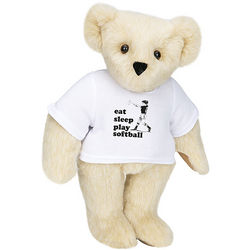 "Eat, Sleep, Play Softball 15"" Bear with T-Shirt"
