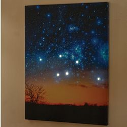 Lighted Night Sky Canvas