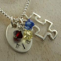 Autism Awareness Hand Stamped Necklace