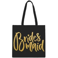 Bridesmaid Black Tote with Gold Writing