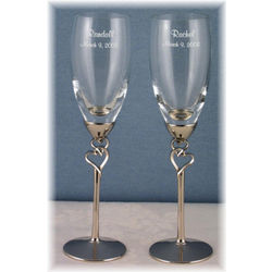 Double Heart Champagne Flutes
