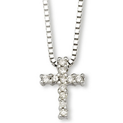 Child's Diamond Cross Necklace in 14kt White Gold