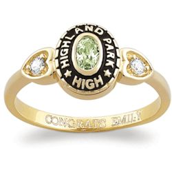 Ladies 18K Gold Plated Oval Stone & CZ Heart Class Ring