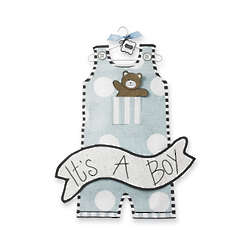 It's a Boy Overalls Door Hanger