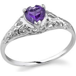 Heart-Cut Amethyst 14K White Gold Ring