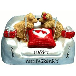 25th Anniversary Personalized Chair with Bear Couple