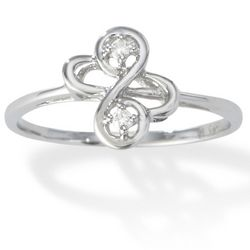 Swirl Shaped 14K Gold Diamond Promise Ring