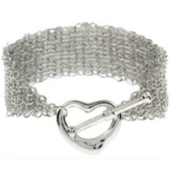 Tiffany Inspired Silver Mesh Heart Toggle Bracelet