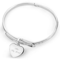 Buckle Bangle with Engraved Heart Charm