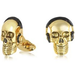 Men's Gold Skull with Headphones Cufflinks