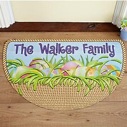 Personalized Cheerful Easter Welcome Half Round Doormat