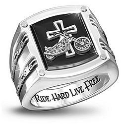 Men's Biker Blessing Stainless Steel and Black Onyx Ring