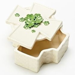 Cross & Shamrock Rosary Porcelain Box