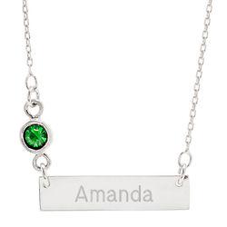 Personalized Bezel Set Birthstone Silver Name Bar Necklace