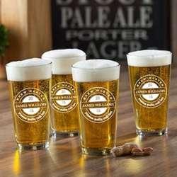 4 Brew Master Personalized Pub Glasses