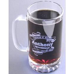 Engravable 16oz Etched Glass Beer Mug