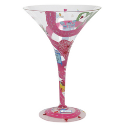 Lover's Lane Hand-painted Valentine's Martini Glass